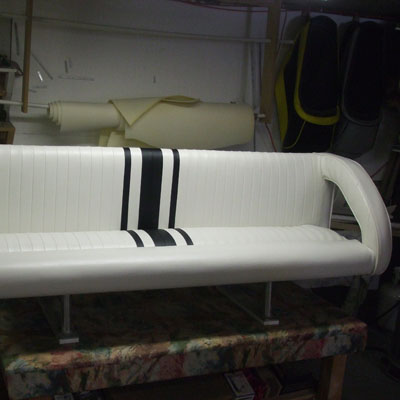 newly refurbished bench for boat