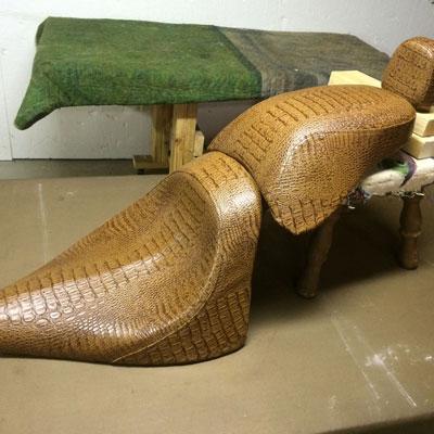 snake skin looing motorcycle seat