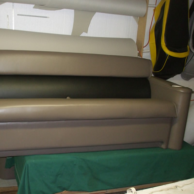 newly upholstered bench for the boat
